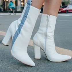 Ankle Boot Branco Striped Jaquelyne